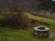 Medieval fountain in transilvania castle Stock Photo