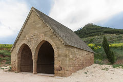 Medieval Fountain in Villamayor de Monjardin, Navarre. Spain. Stock Images