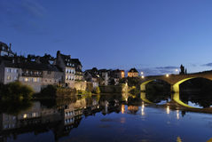 Medieval French village bridge Stock Images