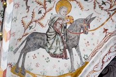 Medieval fresco of the flight into Egypt Stock Images