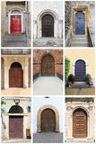 Medieval front doors with rounded arch Royalty Free Stock Photos