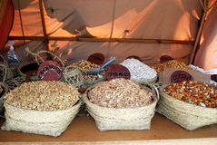 Medieval fruit and nut stall, Spain. Stock Photography