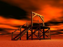 Medieval gallows. Made of wood by red cloudy night Royalty Free Stock Image