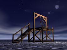 Medieval gallows. Made of wood by night with full moon Stock Photos