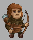Medieval game character archer Stock Image
