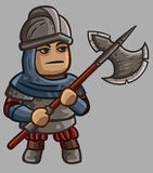 Medieval game character Halberdier Royalty Free Stock Images