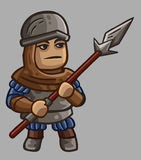 Medieval game character Pikeman Stock Photos