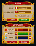 Medieval game GUI pack Stock Image