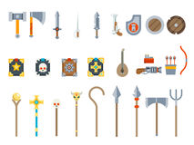 Medieval Game Weapons Set Fantasy RPG Vector  Icons Flat Design Vector Illustration Stock Photos
