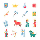 Medieval games symbols flat icons set Stock Photo