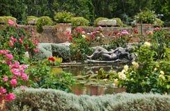 Medieval garden in France. Castle of Lormarin Stock Photos