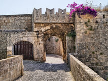 Medieval gate. Medieval defensive gate in the fortifications of Rhodes Old Town, Greece Royalty Free Stock Images