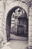 Medieval Gate in the Little Village of Bruniquel Stock Images