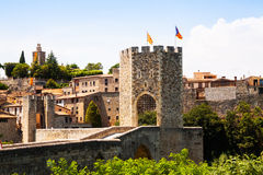 Medieval gate in old town. Besalu Royalty Free Stock Images