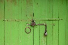 Medieval gate painted in green Royalty Free Stock Photo