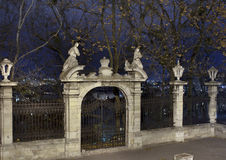 Medieval gates at night. Medieval gothic gates at night. St. George's Cathedral, Lviv, Ukraine. A baroque-rococo cathedral was constructed between 1744-1760 on a Royalty Free Stock Photos