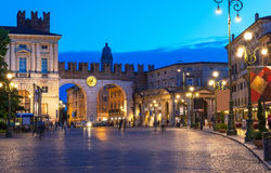 Free Medieval Gates To Piazza Bra In Verona At Night Stock Photography - 42075022