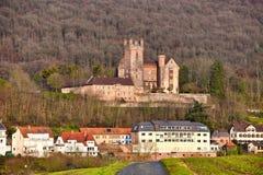 Medieval German hill castle called `Mittelburg`, in Odenwald forest in German city Neckarsteinach