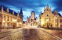 Medieval Ghent at night. Belgium Stock Image