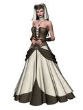 Medieval girl 1. 3D render of a girl in a medieval dress Royalty Free Stock Photos