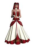 Medieval girl 2. 3D render of a girl in a medieval red and white dress Stock Photos