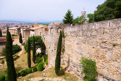 Medieval Girona with city wall Stock Photos