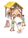 Medieval glassmakers- hand drawn color illustration, part of medieval series set Royalty Free Stock Photos