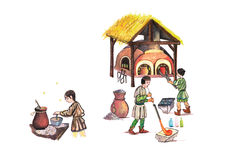 Medieval glassmakers working- hand drawn color illustration, part of medieval series set Royalty Free Stock Photo
