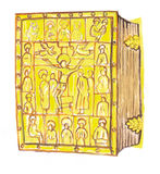 Medieval gold covered bible- hand drawn color illustration, part of medieval series set Stock Photography
