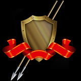 Medieval gold shield with spears and red ribbon. Royalty Free Stock Photography