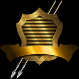 Medieval gold shield with two spears and gold ribbon. Medieval gold shield with two spears and gold banner on a black background Vector Illustration