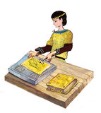 Medieval goldsmith working - hand drawn color illustration, part of medieval series set Royalty Free Stock Photo