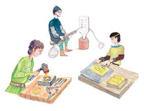 Medieval goldsmiths working - hand drawn color illustration, part of medieval series set Stock Photos