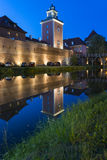 Medieval Gothic castle in Lidzbark Warminski at night Stock Photo