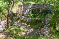 Medieval Gothic castle ruin excavation archeology site in forest Stock Photos