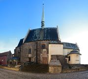 Medieval Gothic cathedral in the city of Pardubice (Czech Republic) Stock Photos