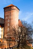 Medieval gothic Sandomierska and Senatorska Towers at Wawel Castle in Cracow, Poland Stock Images
