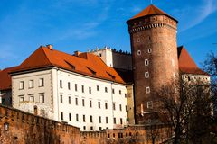 Medieval gothic Sandomierska and Senatorska Towers at Wawel Castle in Cracow, Poland Royalty Free Stock Image