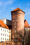 Medieval gothic Sandomierska and Senatorska Towers at Wawel Castle in Cracow, Poland Royalty Free Stock Photos
