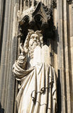 Gothic statue from facade of Cologne cathedral Royalty Free Stock Images