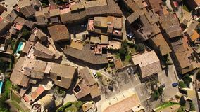 Medieval Gothic Stone Town Aerial Drone View. Pals has a historic centre on a hill surrounded by plains with a medieval Romanesque tower built between the 11th stock video