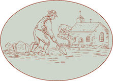 Medieval Grave Digger Shovel Oval Drawing Stock Photography