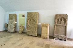 Medieval grave stones. Expose at Union Museum from Alba Iulia, Romania royalty free stock images
