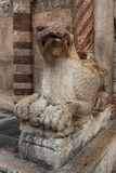 Medieval Griffin guardian in front of Verona Duomo chirch, Italy. Medieval stone Griffin guardian in front of Verona Duomo chirch, Italy Royalty Free Stock Images
