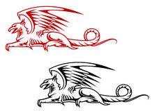 Medieval griffin monster Royalty Free Stock Images