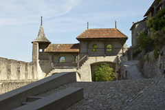 Medieval Gruyeres gate Stock Photo
