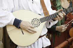 Medieval guitarist Stock Image