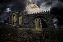 Medieval halloween scenery royalty free illustration