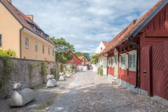 Medieval Hanse town Visby on Gotland. Medieval alley in the historic Hanse town Visby on Swedish Baltic sea island Gotland Royalty Free Stock Photos