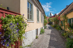 Medieval Hanse town Visby on Gotland. Medieval alley in the historic Hanse town Visby on Swedish Baltic sea island Gotland Royalty Free Stock Photo